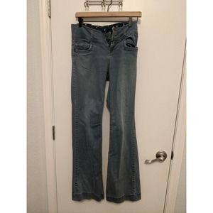 Zara Button Fly Flare High Rise Bootcut Jeans Sz 4